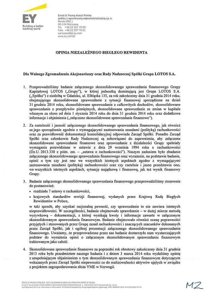 Grupa Kapitalowa LOTOS 2014 - Opinia z badania Skonsolidowanego Sprawozdania Finansowego strona 1