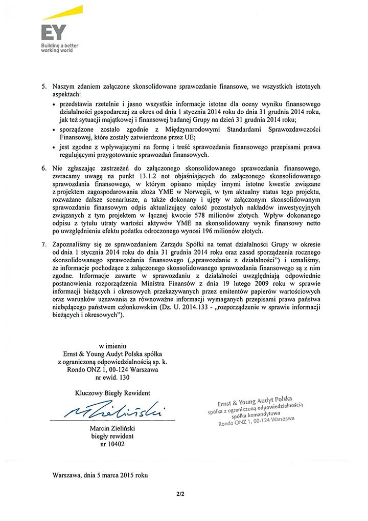 Grupa Kapitalowa LOTOS 2014 - Opinia z badania Skonsolidowanego Sprawozdania Finansowego straona 2