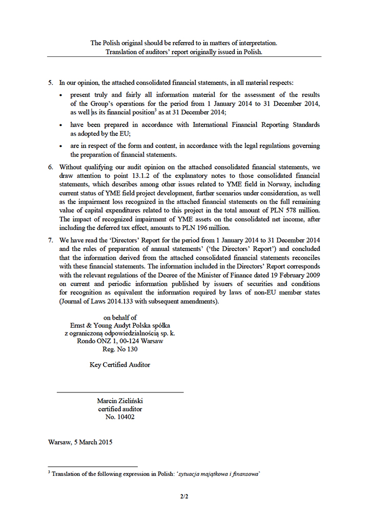 LOTOS Capital Group 2014 - Auditors Opinion (ENG) page 2