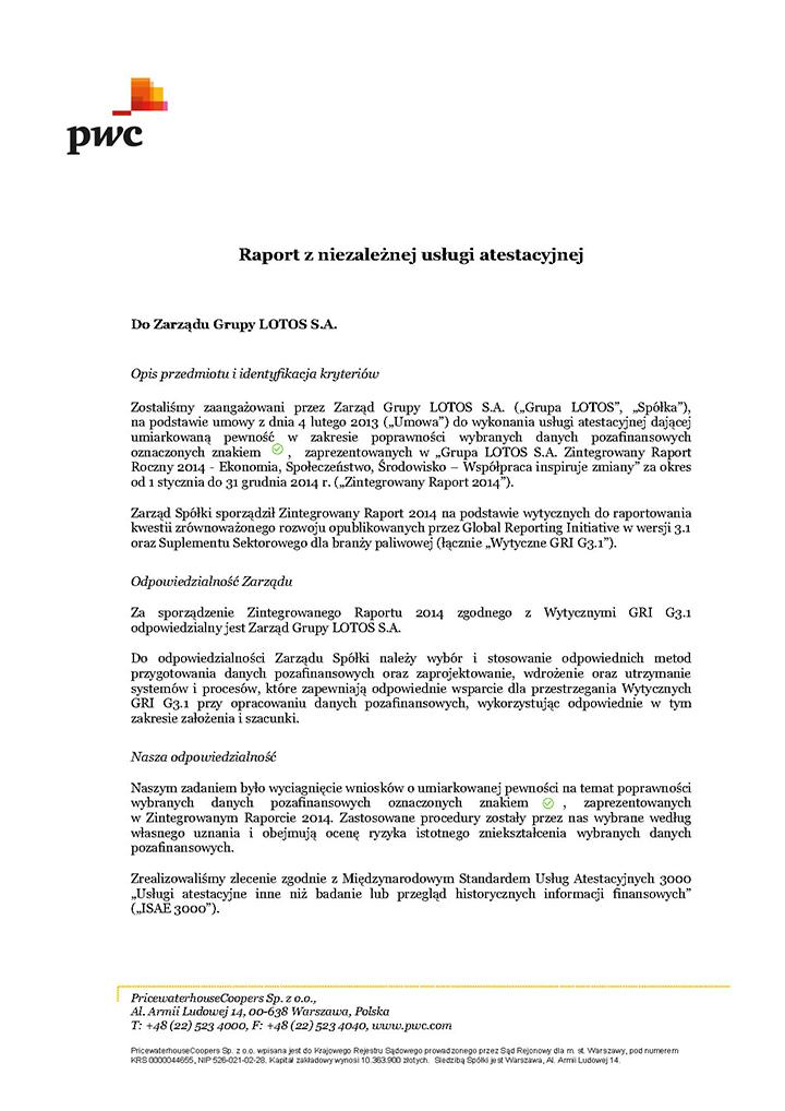 Raport z usługi atestacyjnej dla Grupa Lotos S.A. - strona 1