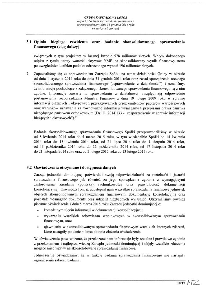 Grupa Kapitalowa LOTOS 2014 - Raport audytora z badania Skonsolidowanego Sprawozdania Finansowego strona 10