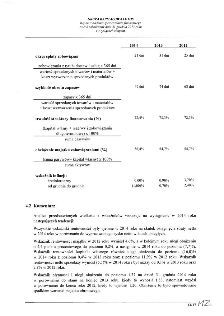 Grupa Kapitalowa LOTOS 2014 - Raport audytora z badania Skonsolidowanego Sprawozdania Finansowego strona 13