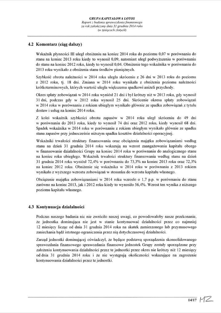 Grupa Kapitalowa LOTOS 2014 - Raport audytora z badania Skonsolidowanego Sprawozdania Finansowego strona 14