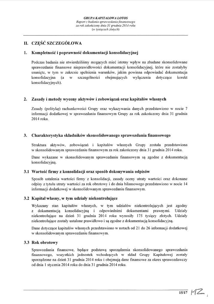 Grupa Kapitalowa LOTOS 2014 - Raport audytora z badania Skonsolidowanego Sprawozdania Finansowego strona 15