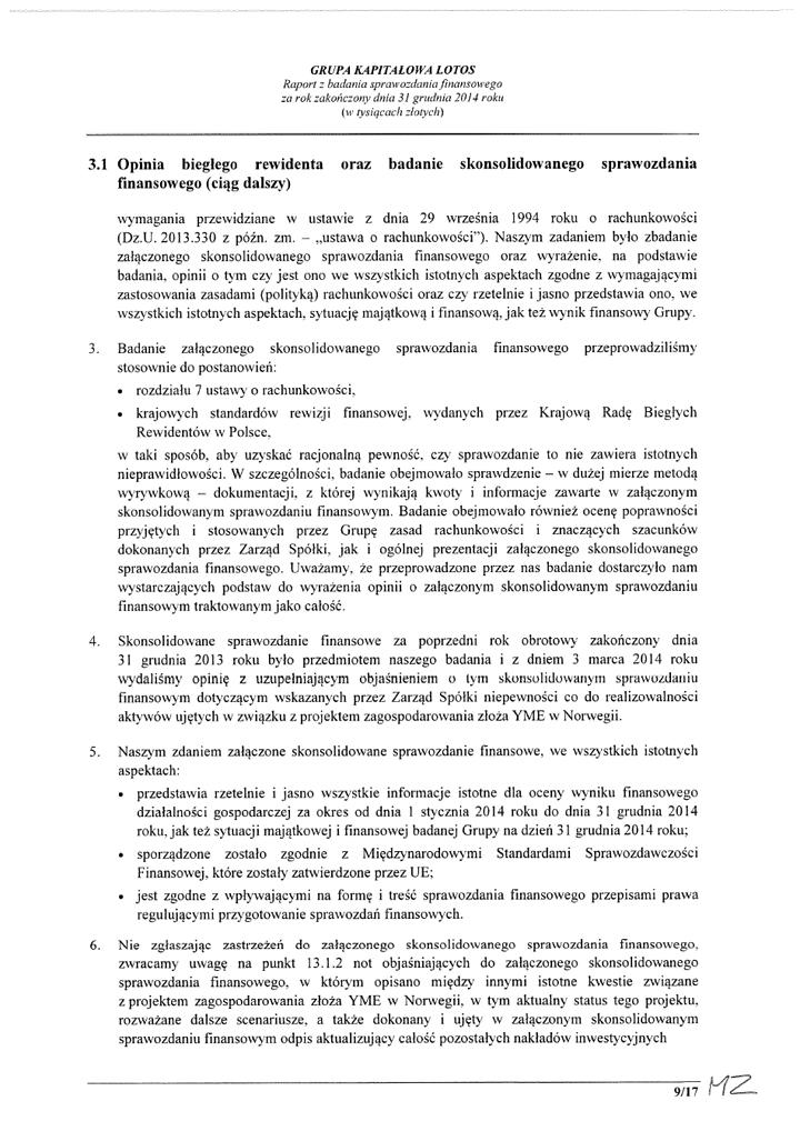 Grupa Kapitalowa LOTOS 2014 - Raport audytora z badania Skonsolidowanego Sprawozdania Finansowego strona 9